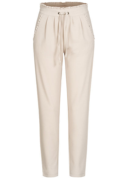 JDY by ONLY Damen NOOS Stoffhose 2-Pockets Tunnelzug Frilldetails am Saum beige - Art.-Nr.: 21010082
