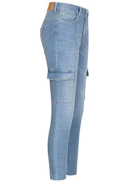 JDY by ONLY Damen Cargo Ankle Skinny Jeans Hose High-Waist 6-Pockets hell blau denim - Art.-Nr.: 21010104