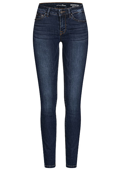 Tom Tailor Damen Extra Skinny Jeans Hose 5-Pockets Low Waist dark stone wash denim - Art.-Nr.: 21010109
