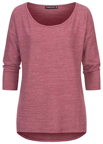 Fresh Made Damen 3/4 Arm Longform Shirt Longsleeve Vokuhila vintage berry rot mel - Art.-Nr.: 21010169