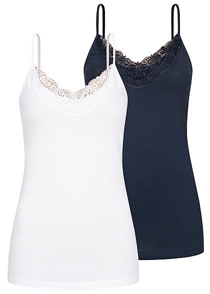 Vero Moda Women NOOS 2-Pack V-Neck Strappy Tops with Lace on the front navy blue & white - Art.-Nr.: 21010218