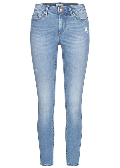 ONLY Women NOOS Skinny Jeans Pants 5-Pockets Destroy Look light medium blau denim - Art.-Nr.: 21010241