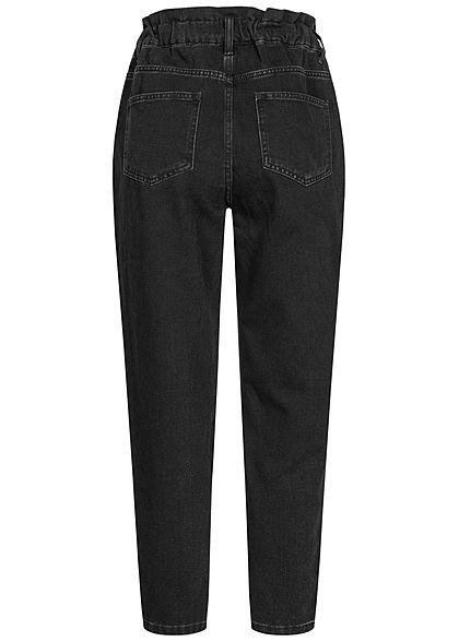 ONLY Damen Elastische Ankle Jeans Hose Hight-Waist Gumminbund schwarz denim