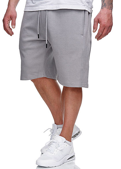 Sublevel Herren Sweatpants Shorts 4-Pockets Tunnelzug pencil grau - Art.-Nr.: 21031061