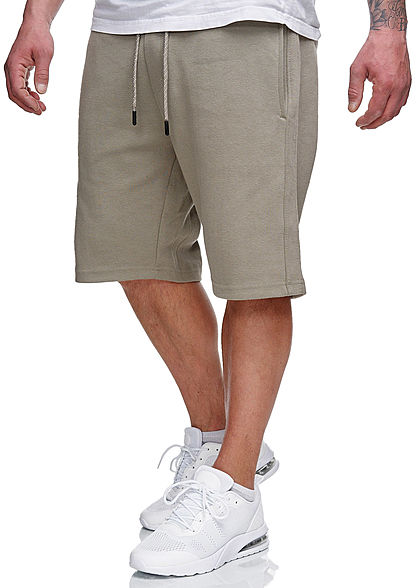 Sublevel Herren Sweatpants Shorts 4-Pockets Tunnelzug dried sage grün - Art.-Nr.: 21031062