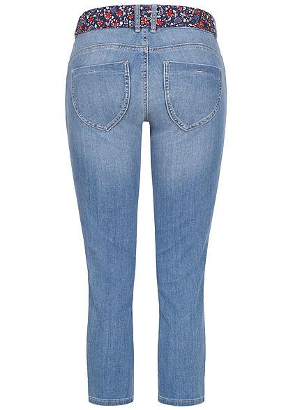 Tom Tailor Damen 7/8 Slim Fit Jeans Hose mit buntem Gürtel 5-Pockets used stone hellblau