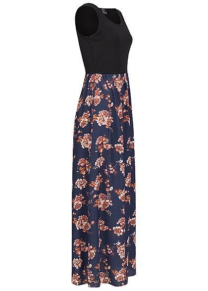 Styleboom Fashion Women 2-Tone Maxi Dress Flower Print black navy blue