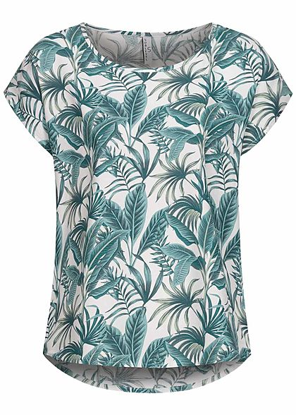 Sublevel Women Viscose Blouse Tropical Print off white leaf green - Art.-Nr.: 21041496