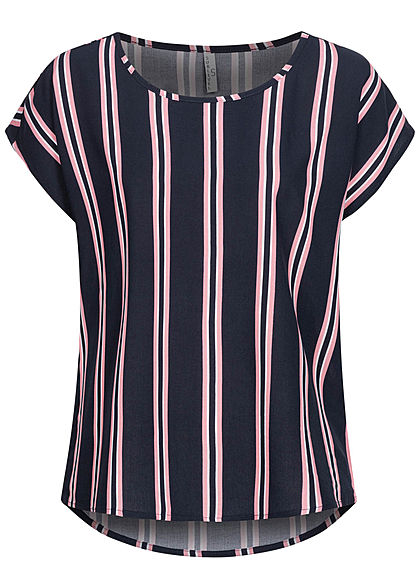 Sublevel Women Viscose Blouse Stripes Pattern navy rose white - Art.-Nr.: 21041498