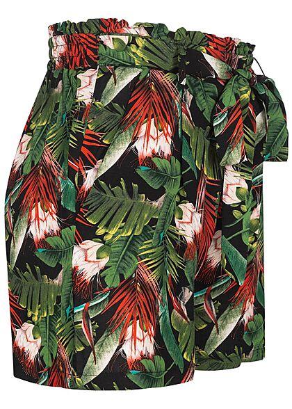 Urban Surface Women Shorts Tropical Print black