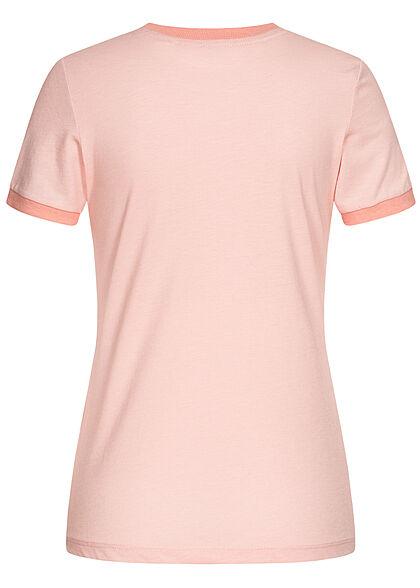 Brave Soul Damen T-Shirt Multicolor Streifen Muster Miami Print peach rosa coral