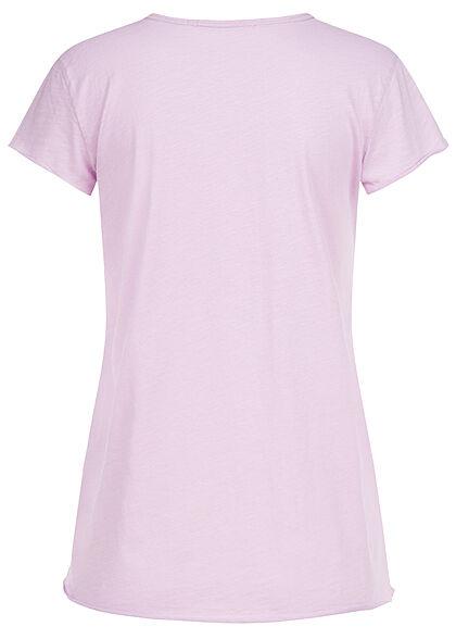 Rock Angel Damen T-Shirt mit Brusttasche & Rollsaumkanten tender lilac
