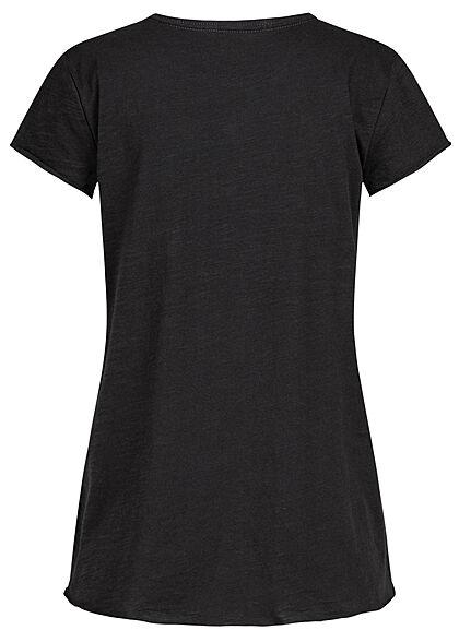 Rock Angel Damen T-Shirt mit Brusttasche & Rollsaumkanten schwarz