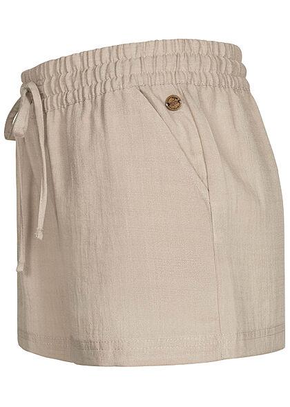 Eight2Nine Damen Viskose Sommer Shorts in Leinenoptik 2-Pockets birch beige