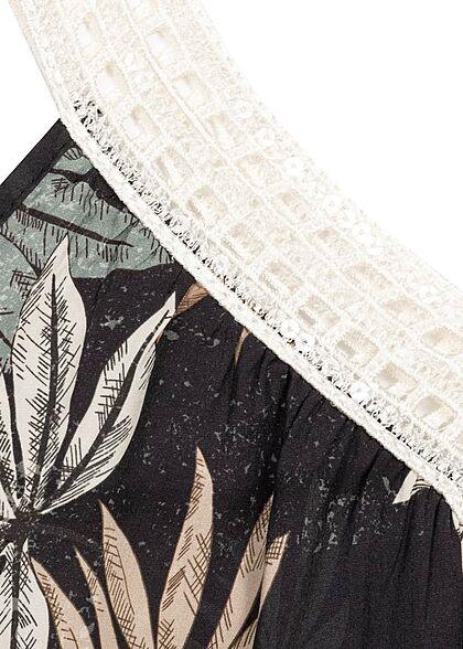 Zabaione Damen V-Neck Träger Top Tropical Print schwarz