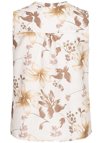 Zabaione Women V-Neck Blouse Top Flower Print off white