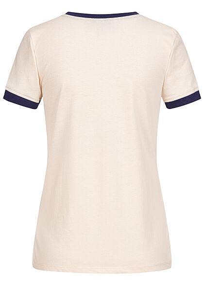 Brave Soul Damen 2-Tone T-Shirt Streifen Muster cream beige blau
