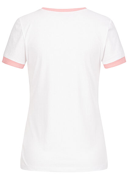 Brave Soul Damen 2-Tone T-Shirt Streifen Muster weiss powder pink