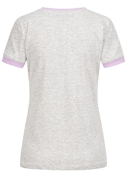 Brave Soul Women 2-Tone T-Shirt Aloha Hawaii Print grey